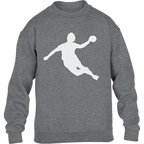 Handball Spieler in Action Silhuetten Fan Geschenk Kinder Pullover Sweatshirt XL 152/164 Grau
