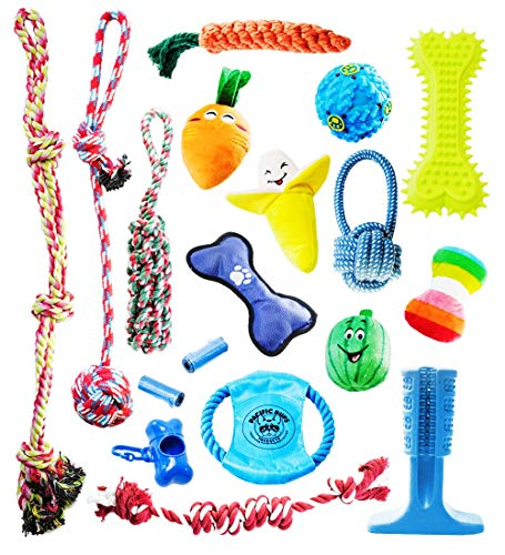 Pacific Pups Products Eighteen-Piece Dog Toy Set of Rope Plush Squeaky and Dental Cleaning Multi