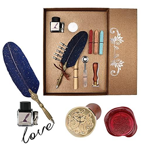 Dsaren Pluma de Escritura Antigua Caligrafía Creativa Feather Pen Set con 5 Plumilla Diferentes Tinta Cera de Sellado Barras de Cera Lacre Regalos para Navidad Boda Cumpleaños Aniversario (azul)