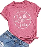 Qrupoad Womens Faith Over Fear V Neck T Shirts Fall Casual Christian Short Sleeve Graphic Tees Tops Pink