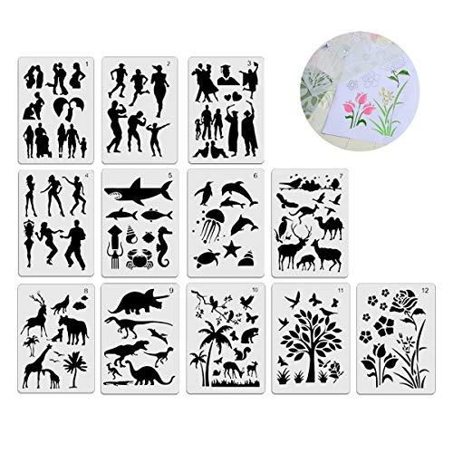 Schablonen-Set aus Kunststoff zum Zeichnen, Malen, Schablonen für Planer / Tagebuch / Notizbuch, Zeichnen / Geschenkkarten / Figuren, Tiere, Blume, Baumkunst, Bastelprojekte, Vorlagen-Set, 12-teilig