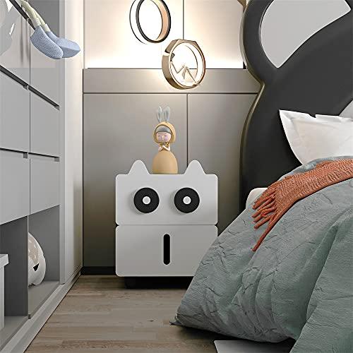 SITAKE Mesitas de noche , modernas mesitas de noche para dormitorio, mesita de noche de dibujos animados con 2 cajones para la habitación de los niños, sala de estar, dormitorio, oficina (blan