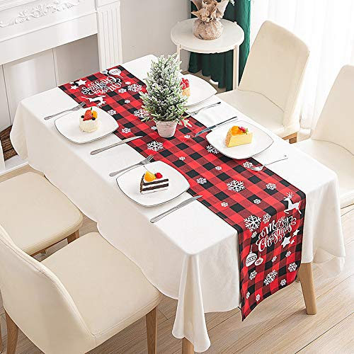 "GlowingSun Christmas Table Runner Red Printed Linen for Xmas New Year Season Home Table Christmas Decoration 13 x 70"", Red Checkered. (Merry Christmas)"