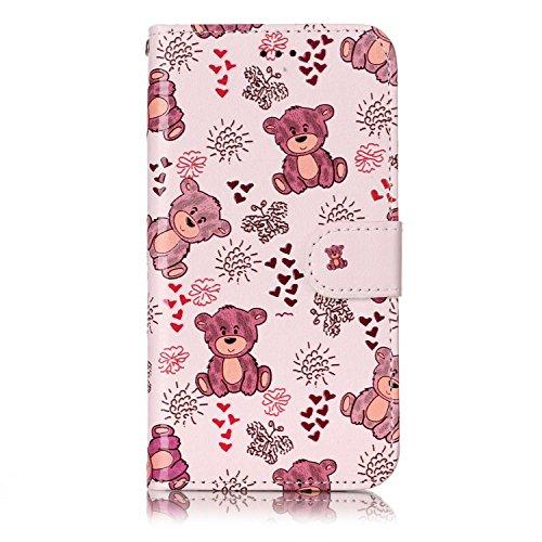 Karomenic PU Leder Hülle kompatibel mit Samsung Galaxy S6 Emboss Blume Muster Handyhülle Brieftasche Silikon Schutzhülle Klapphülle Ledertasche Standfunktion Wallet Flip Case Etui,Bär