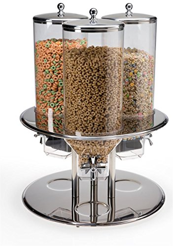 Dry Food Dispenser with 3 Canisters, 7.8 Gallons Total, Portion-controlled Cereal Dispenser with Rotating Base, Stainless Steel, Clear Polycarbonate