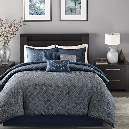 Madison Park Biloxi Queen Size Bed Comforter Set Bed in A Bag - Navy, Geometric – 7 Pieces Bedding Sets – Ultra Soft Microfiber Bedroom Comforters