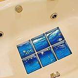 LXPAGTZ Baño creativo 3D duradera mancha-resistente da alta temperatura de la goma personalidad hoja de etiquetas auto adhesivas bañera baño impermeable antideslizante marino patrón tamaño 130 * 130 m m (5.11 * 5.11 pulgadas) conjunto de 6 #006