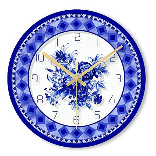 GYGUYHIHY Blaue Und Weiße Porzellan Wanduhr Wohnzimmer Chinesische Dekorative Uhr Quarz Runde Stumm Uhren Metall Wanduhr Wohnzimmer Dekoration 29,5 * 29,5 cm Wanduhr,A