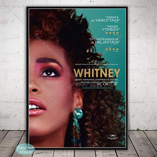 SQSHBBC Whitney Houston Nero Bianco Poster Musica Stella Tela Pittura Poster e Stampe Immagine per pareti per Soggiorno Decorazioni per la casa A11 40x60cm No Cornice