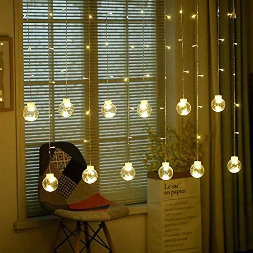 String Lights Lighting Led Ball Lights Wishing Ball Holiday Curtains Icicle Wishing Ball Christmas Bedroom Decoration-Warm_White (Color : Zhengbai)