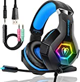 RGB Gaming Headset for Xbox One PS4, Pro PC Gaming Headphones Listening to Music with Mic & LED Light,Memory Earmuffs for MacBook Laptops,Lightweight Headset Gifts for Teenagers Boys Girls (Black)