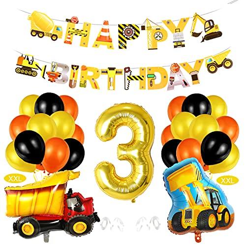Bagger 3 Geburtstag Luftballon Deko, 3. Geburtstag BAU Dekoration,3 Kindergeburtstag, 3 Jahr Baustelle Kindergeburtstag, 3 Luftballon Geburtstagdeko,3 Ballon Bagger Deko, 3 Geburtstag Jungen Deko
