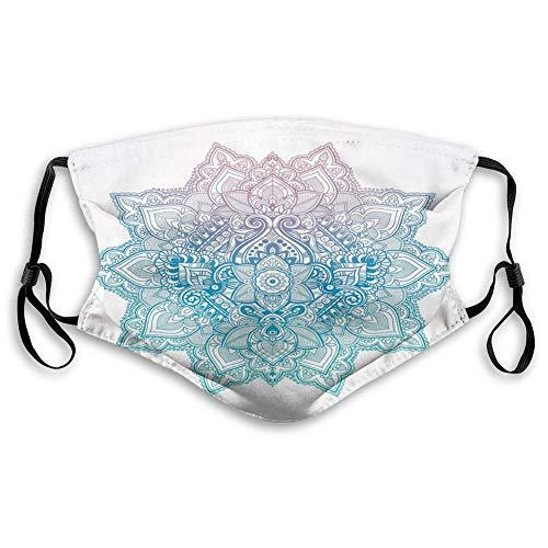 WXM Lotus, Bohemia Estilo Tatuaje Pastel Toned Mandala Abstracto Lotus Flower Design,Lila Azul,Decoraciones faciales a prueba de viento para adultos