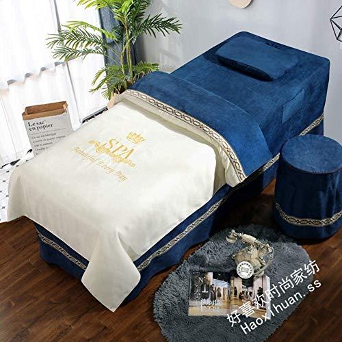ZTMN Beauty Bettdecke 4-teilige, kontinentale Baumwollmassage Tischdecke Sets Tagesdecken Bettdecke Beauty Salon Spa Bett Rock Blatt mit Loch-i 70x190cm (28x75inch)