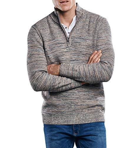 engbers Herren Mehrfarbiger Pullover mit Polokragen, 30567, Grau in Größe L