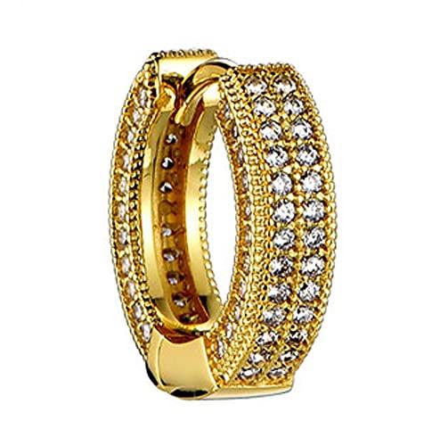 RXSHOUSH Pendientes de Stud Hombres y Mujeres 925 Oro y Plata Círculo Círculo Agitando Pareja Regalos Individual/Par de Pendientes Gold-One