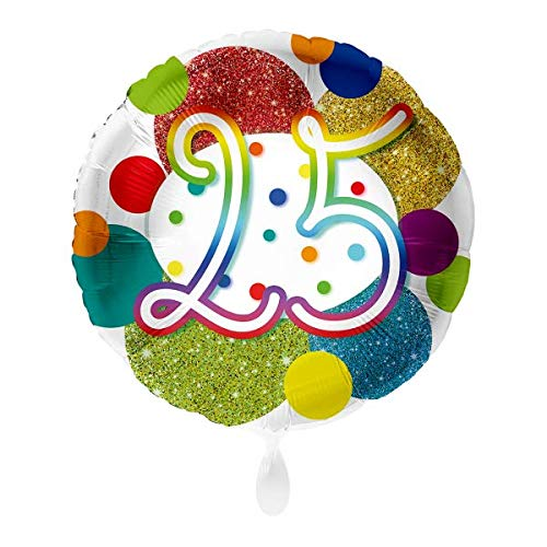 Luftballon Markt 1 Folienballon 25 Geburtstag Punkte bunt rund ca.45 cm ungefüllt Ballongas geeignet