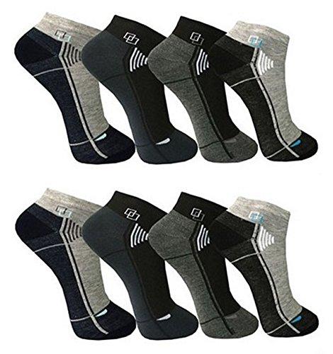 BestSale247 12 Paar Herren Sport Freizeit Sneaker Socken Füßlinge Baumwolle 39-42 ; 43-46 (Muster 4, 39-42)