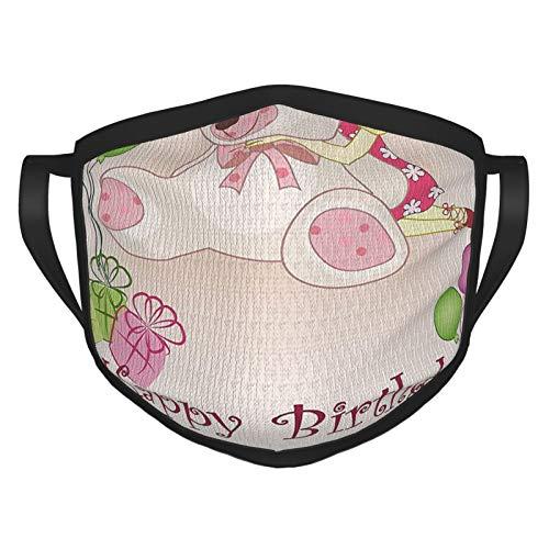 xmy - Bufanda reutilizable para la cara, decoración de cumpleaños, para niños, bebé, niña, cumpleaños, con ositos de peluche, globos y cajas de muñeca, color rosa claro