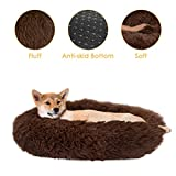 SlowTon Dog Calming Bed, Ultra Soft Donut Cuddler Nest Warm Plush Dog Cat Cushion with Cozy Sponge Non-Slip Bottom for Small Medium Pets Snooze Calm Sleeping Indoor, Machine Washable(23.6', Coffee)