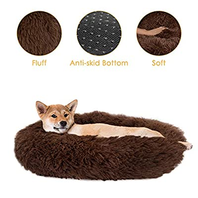 SlowTon Dog Calming Bed, Ultra Soft Donut Cuddl...