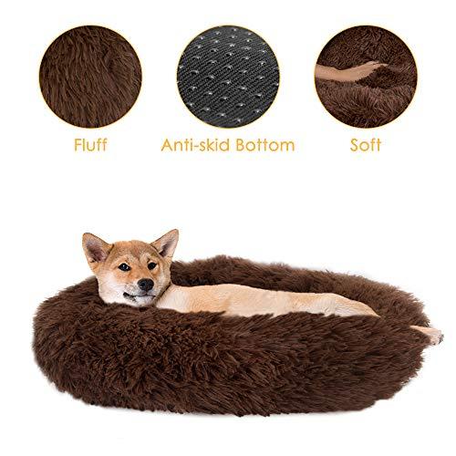 SlowTon Haustierbett Schöne Tierbett Hundesofa Katzensofa Kissen, Donut-Kuschelnest Warmes weiches Plüsch