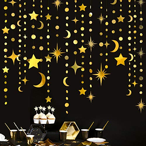 Gold Star Moon Circle Dot Garland Party Decorations Kit Hanging Crescent and Twinkle Little Star Streamer Bunting Banner for Kids Room First Birthday Ramadan EID Mubarak Baby Shower Wedding Engagement
