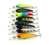 """LENPABY 8 pcs Deep Diving Minnow Fishing Lures Crankbaits Kit for Bass and Trout Fishing Tackle 9cm/3.54""""/8.3g"""