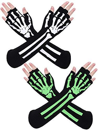 Cooraby 2 Paar Skelett-Handschuhe, leuchtet im Dunkeln, fingerlos, weiblich, Kostüm-Handschuhe