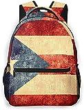 Watercolor Flamingo Basic Travel Laptop Mochila Novedad Mochila Escuela Vintage Puerto Rico Bandera