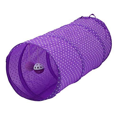 Asudaro Cat Tunnel with Ball, Foldable Pet Puppy Tube Play Tent Pet Cat Toy Interactive Toy Hiding House for Puppies Kittens Rabbits Small Pets Animals Purple