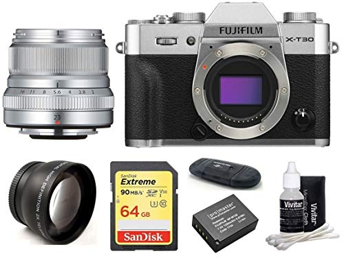Best Deals! FUJIFILM X-T30 Mirrorless Digital Camera Body (Silver) + XF 23mm f/2 R WR Lens (Silver) ...