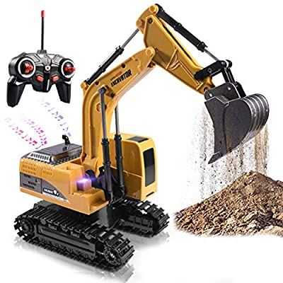 Remote Control Excavator Toy Truck RC Excavator with Metal Shovel Lights Sounds Rechargable Engineering Sand Digger Construction Vehicle Toy Gift for Boys Girls Kids & Children by Onadrive