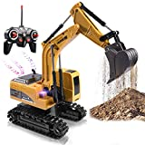 Remote Control Excavator Toy Truck RC Excavator with Metal Shovel Lights Sounds...