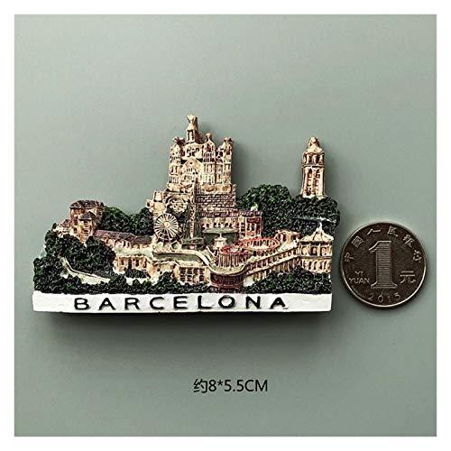 JSJJAWA Imán Bélgica Bruselas Frigorífico Imanes Sirio Turquía Italia Barcelona Imanes De Frigoríficos Magnéticos Pegatinas Magnéticas Recuerdos de Viaje (Color : Barcelona)