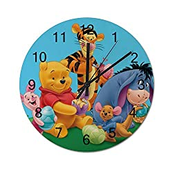 UHBBT Winnie The Pooh Tigger 12 inch Wooden Indoor Silent Decorative Battery Operated Lager Wall Clock for Living Room Home Office School Rustic Clock Round Wall Clock2525cm