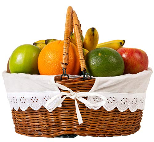 Cheapest Price! Wicker Oval Willow basket Handles For Gifts Picnic Empty Fruit Gift Baskets Small Ha...