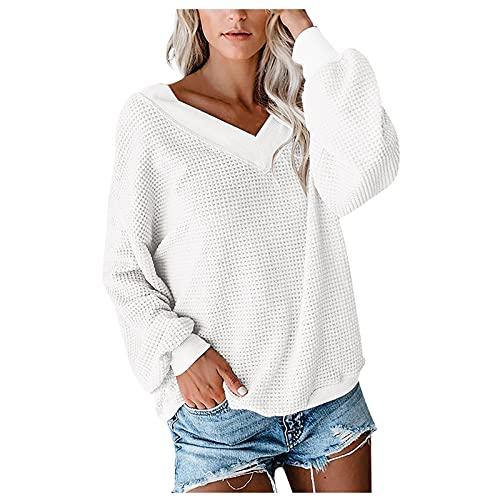 Shopler Suéter de punto con cuello en V y manga de murciélago para mujer, blanco, M