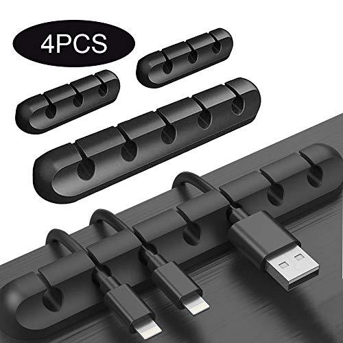 4 Stück Kabelhalter Kabelclips Selbstklebende für Netzkabel, USB Cable Ladekabel, Ladegeräte, Audiokabel, Cable Schreibtisch Kabelführung Organizer Set(Schwarz)