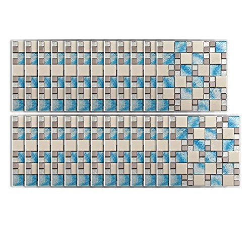 25 hojas 3D tridimensionales pegatinas de pared, mosaico adhesivo de plástico extraíble, impermeable, a prueba de aceite, para baño, cocina, extraíble (15 x 15 cm)