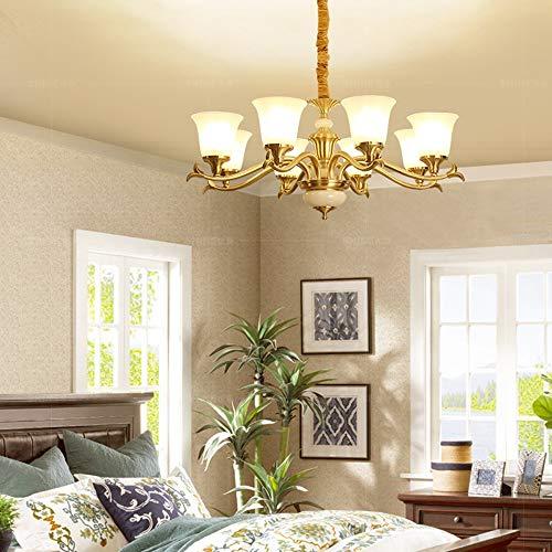 XLTT Lámpara de techo LED de cobre de estilo europeo E27 × 8 de luz cálida de techo para decoración del hogar, sala de estar, dormitorio, estudio, Φ82 × 38 cm