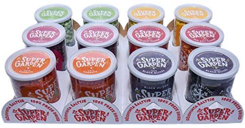 Supergarden Value Pack: 12 Tassen Gefriergetrocknete Gemüse - 100% natürlich - vegan - Keine Zusatz- und Konservierungsstoffe