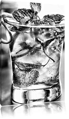 Monocrome, Cocktail mit Pfefferminz, Format: 60x40 auf Leinwand, riesige Bilder fertig gerahmt mit Keilrahmen, Kunstdruck auf Wandbild mit Rahmen