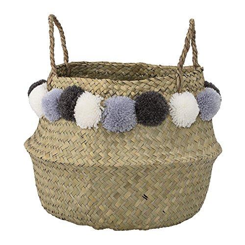 Deko Korb mit Griff aus Seegras mit Bommeln in natur, weiß, blau, grau, Ø38xH28 cm, Flechtkorb zur Aufbewahrung für Wäsche, Spielzeug oder Pflanzen, handmade
