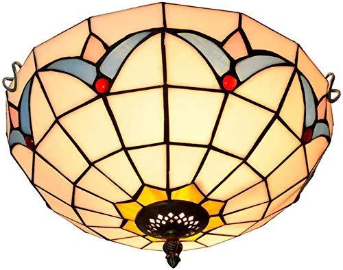 Wtbew-u Lámpara de Techo, luz de baño Luces de Sombra de Cristal de Color Vintage, Porche/Corredor/baño/balcón Hermoso Iluminado