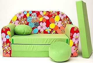 Tessuto Rosa PRO COSMO H4/Bambini Divano Letto futon con Pouf//poggiapiedi//Cuscino 168/x 98/x 60/cm