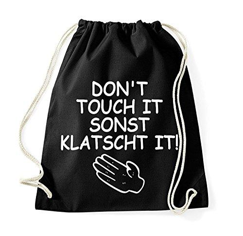 Youth Designz Turnbeutel mit Spruch/Beutel Tasche Rucksack Jutebeutel Sportbeutel/Modell DONT TOUCH IT SONST KLATSCHT IT