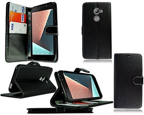 Funda de piel Pixfab para Vodafone Smart V8 VFD 710 con tapa y protector de pantalla