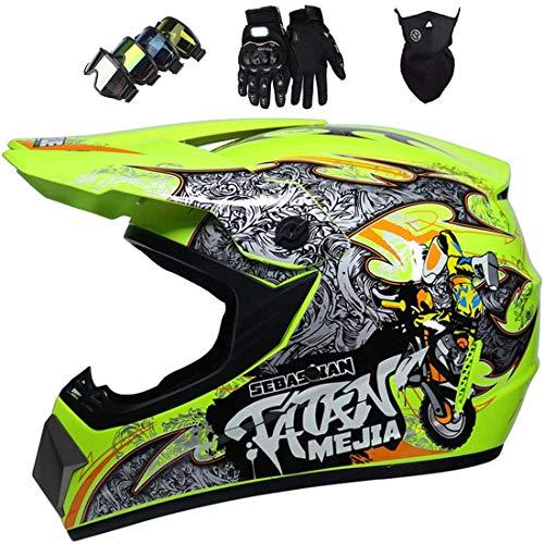 Casco de motocicleta todoterreno, Casco MTB integral para jóvenes Casco de motocross Downhill ATV MX Bike Scooter con gafas, guantes, máscara Certificación ECE & DOT, Amarillo