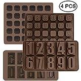 4er-Set, Silikon-Buchstabenform und Zahlenschokoladenformen,...